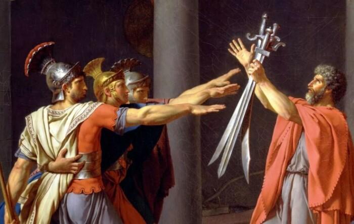 Именно эта картина стала поводом считать этот жест римским.
