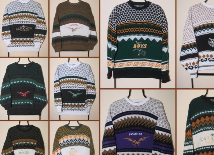 Расцветка свитеров, напоминающая об эпохе.