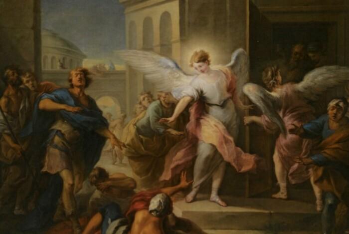 Ангелы ослепили жителей города и бежали.