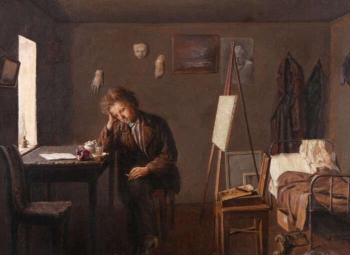 Ильин любил воплощать на картинах образ бедствующих художников.