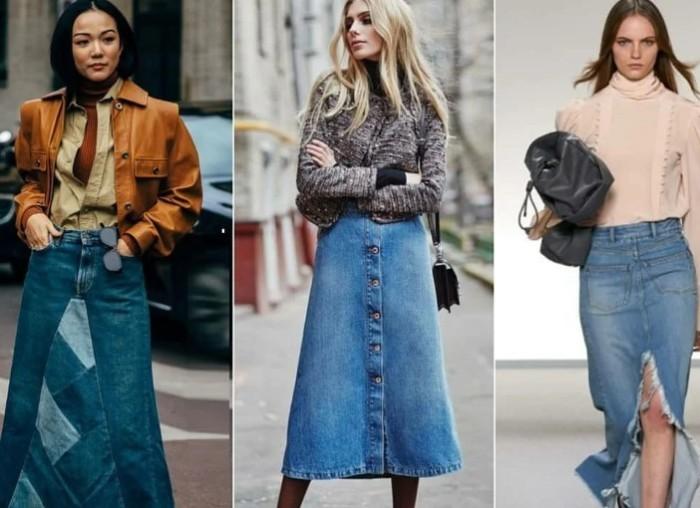 Джинсовая юбка, начиная с 90-ых не очень и изменилась.
