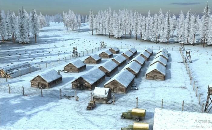 Исправительно-трудовой лагерь в Сибири.