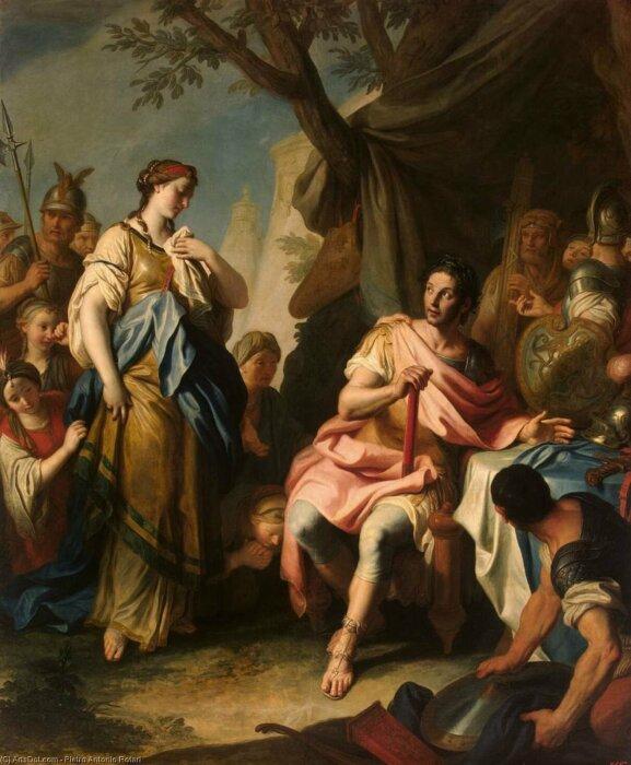 Македонский со своей первой женой Роксаной
