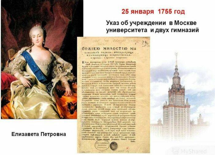 Елизавета Петровна подписала указ об открытии Московского университета