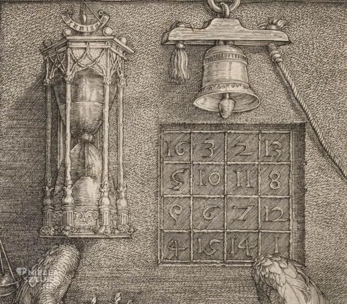 «Квадрат Сатурна» на этой гравюре до сих пор полностью не расшифрован, известно лишь, что автор там зашифровал день смерти его матери (16.05) и год создания «Меланхолии» (1514), а все остальное до сих пор загадка
