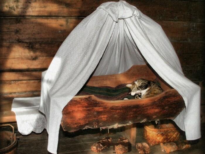Чтобы ребенок хорошо спал, прежде чем его укладывать, пускали кота там полежать