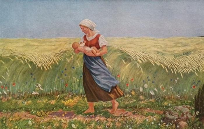 Раньше женщины работали прямо до самых родов, поэтому нередко рожали в поле и «приносили детей в подоле»