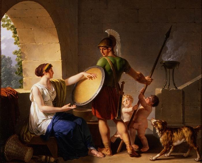 «Спартанская женщина дает щит своему сыну». Жан-Жак Барбье, 1826 год. / Фото: portlandartmuseum.us