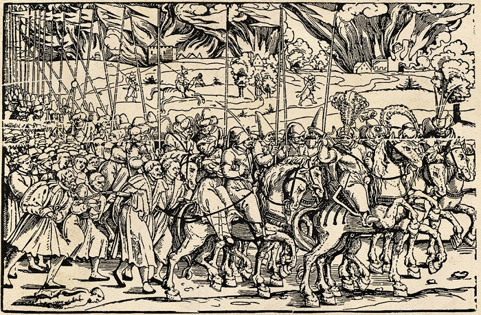 Татары с ясырем, гравюра Эрхарда Шена, 1530 год. / Фото: Wikimedia Commons