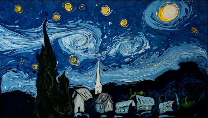 «Звездная ночь» Ван Гога в стиле Эбру / Фото: dogonews.com