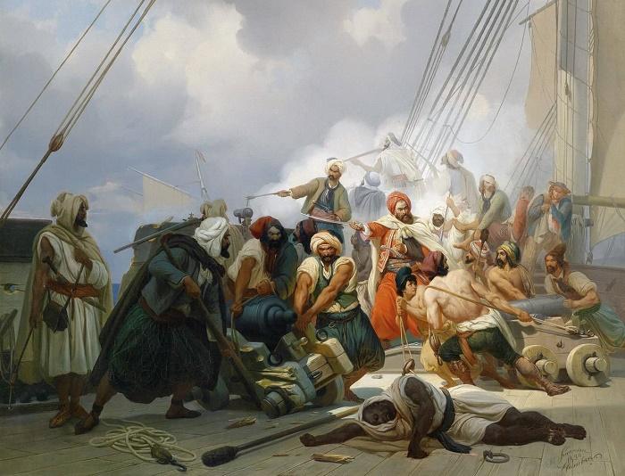 Берберские пираты. Риcунок во французской энциклопедии 1844 года / Фото: hughvincent.com