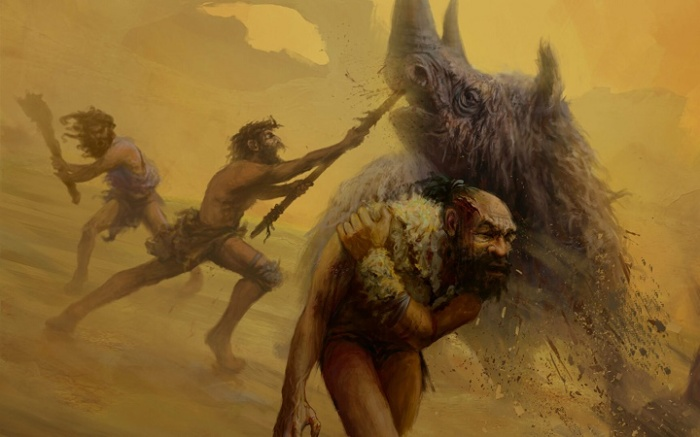 Охота неандертальцев. Современный рисунок / Источник: twitter.com