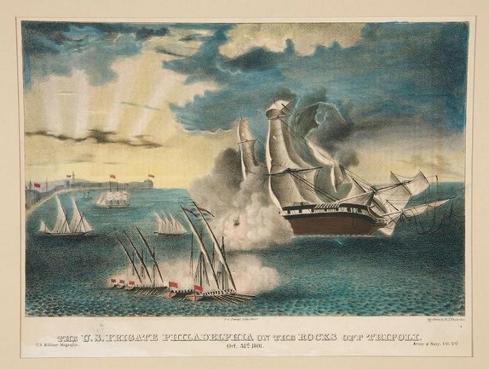 «Филадельфия» на рифах неподалеку от Триполи, 1803 год / Фото: wikipedia.org