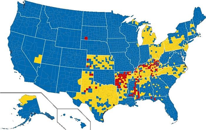 На карте показаны графства США, в которых продажа алкоголя полностью запрещена (красный цвет), либо серьёзно ограничена (жёлтый цвет) / Источник: olegmakarenko.ru
