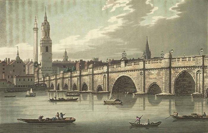 Лондонский мост через Темзу. Гравюра XVIII века , Источник: luctonshanghai.com