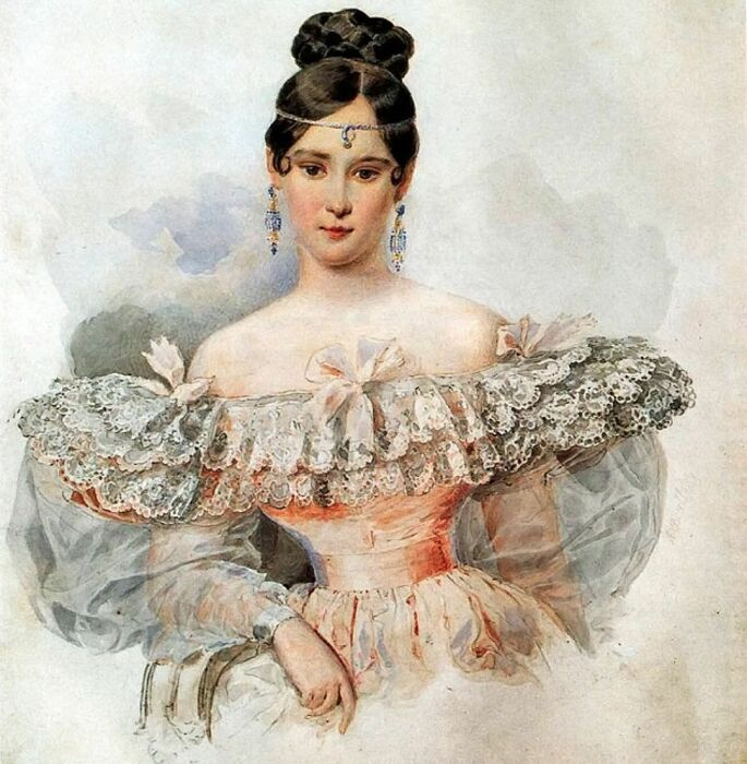 А. Брюллов «Портрет Натальи Гончаровой», 1832 год / Фото: i.pinimg.com