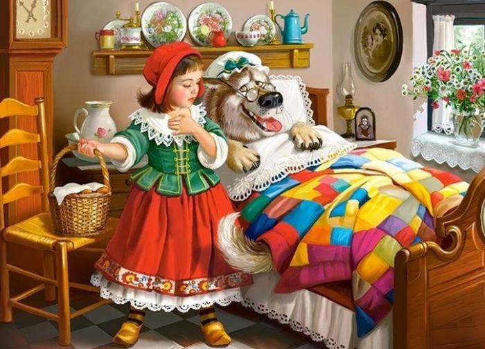 Волк обманул Красную шапочку. переодевшись в бабушку. / Фото:ukazka.ru