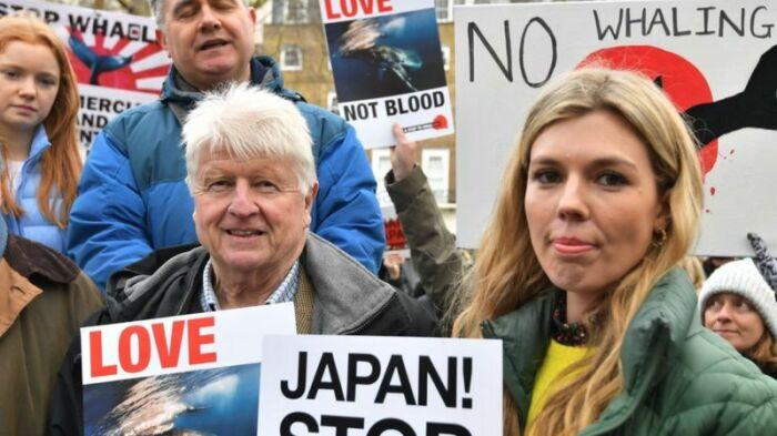 Кэрри Саймондс появлялась на публике с отцом Бориса Джонсона Стэнли. Здесь - на акции против охоты на китов. / Фото: bbc.com