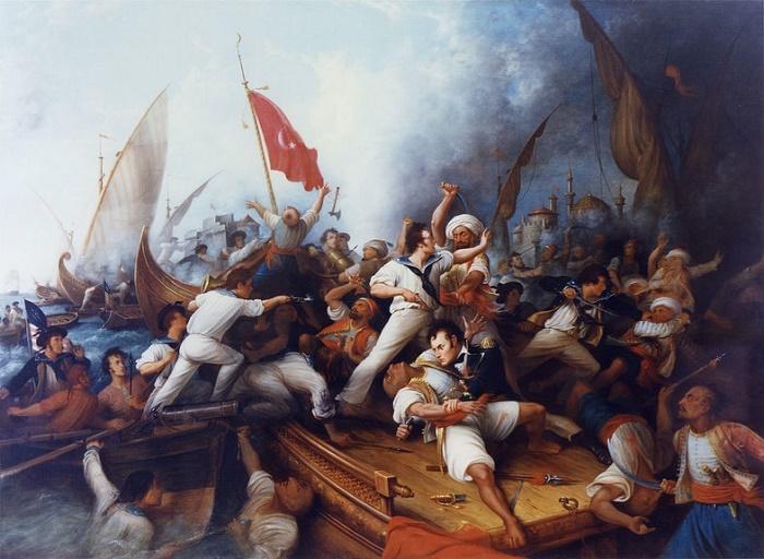 Стивен Декейтер (внизу в центре) в схватке с берберским капитаном, 3 августа 1804 года, художник Деннис Mалон Картер / Фото: wikipedia.org