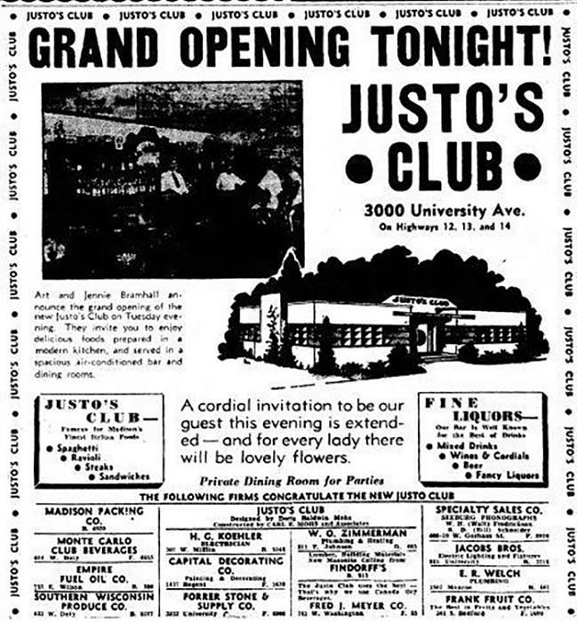 Газетная вырезка с рекламой клуба «Justo's», 1939 год / Источник: madison.com