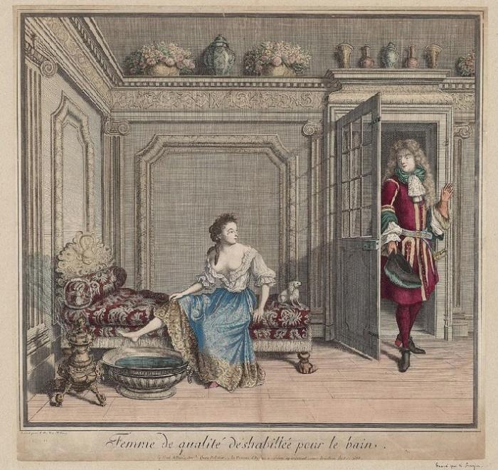 Благородная дама обнажилась для купания. Гравюра Николя Базана, Франция, 1686 год. Музей изящных искусств, Бостон. / Фото: facebook.com