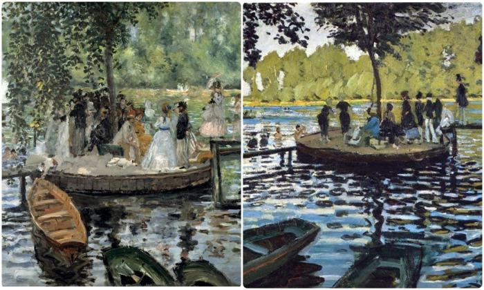 Моне и Ренуар часто рисовали одни и те же образы, картина «Лягушатник», 1869 год / Фото: pinterest.com
