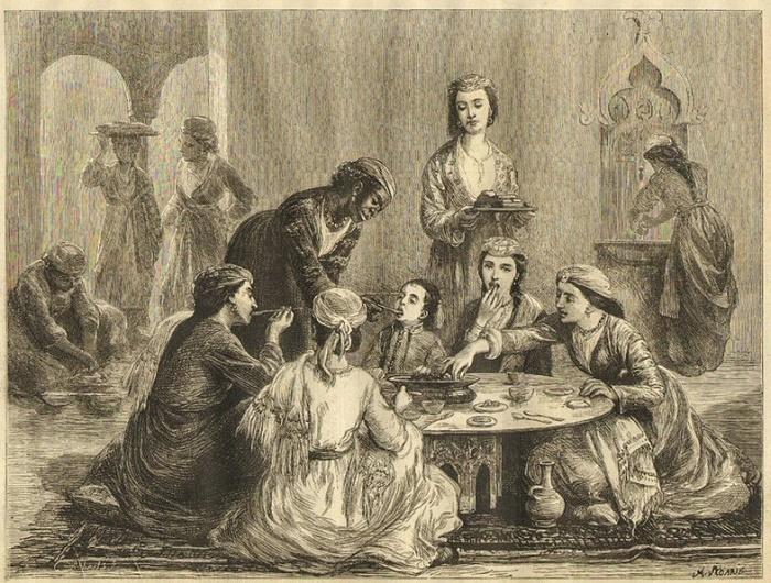 Жизнь османского гарема. Семья бея на обеде. Иллюстрация в журнале The Graphic от 15 июля 1876 года / Фото: bbc.com
