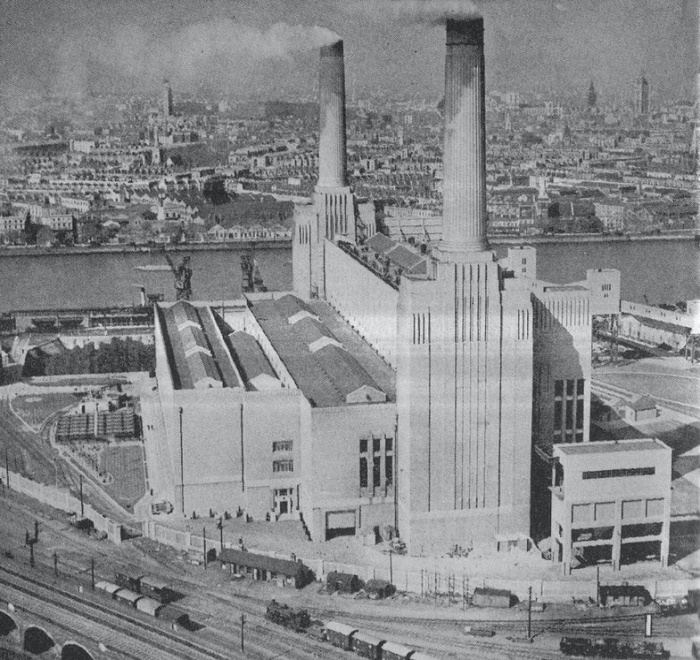 Угольная электростанция «Баттерси» (ныне недействующая) на южном берегу Темзы в районе Баттерси на юге Лондона, 1938 год. / Фото: bbc.com