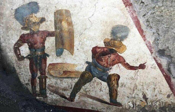 Бой гладиаторов. Фреска, найденная во время раскопок Помпеи / Источник: vk.com