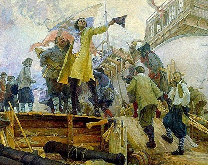 Петр I на строительстве флота / Фото: britannica.com