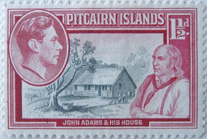 Джон Адамс и его дом на почтовой марке / Источник: wikipedia.org