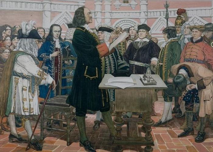Петр I зачитывает указ / Фото: heritage-history.com