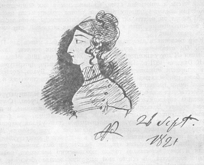 А. Пушкин «Профиль Капипсо», 1821 / Фото: www.liveinternet.ru