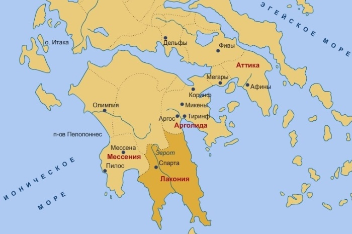 Карта древнегреческого государства Спарта / Фото: developer.mob-edu.ru
