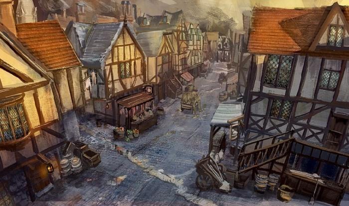 Типичная улица Лондона конца XVII века / Источник: puddinglanedmuga.blogspot.com