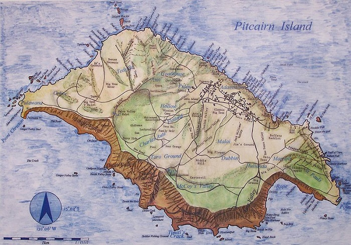 Карта острова Питкэрн середины XIX века / Источник: wikipedia.org