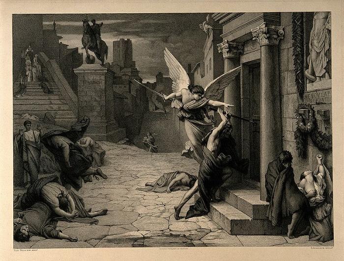 Ангел смерти пробивает дверь во время чумы в Риме. Гравюра XIV века. / Фото: wikipedia.org