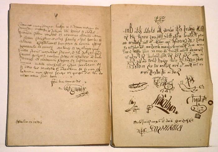 Договор, который якобы Урбен Грандье заключил с нечистой силой. В конце текста – подписи священника и 5 демонов / Источник: twitter.com