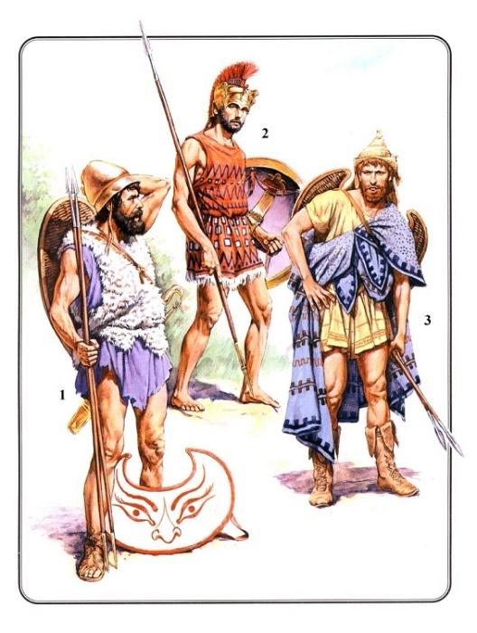 Воины Эллады. 1 - греческий пельтаст (V-IV вв. до н.э.); 2 - афинский экдромой (середина V в. до н.э.); 3 - фракийский пельтаст (V в. до н.э.) / Источник: dick-k.narod.ru