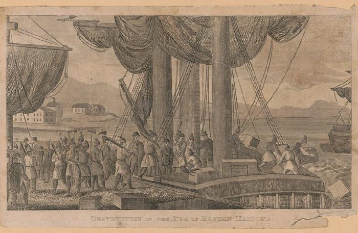 Уничтожение чая в порту Бостона, 1773 год /Фото: bostonteapartyship.com