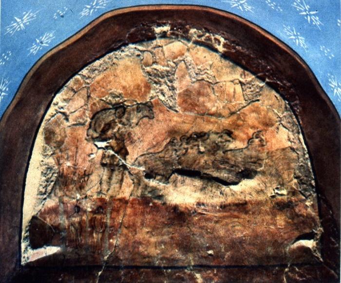 Фреска церкви в Дура-Европос. Пастырь Добрый несет заблудшую овцу / Источник: wikimedia commons