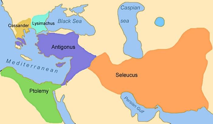 Карта государств, образованных после распада империи Александра Македонского / Источник: eponym.ru