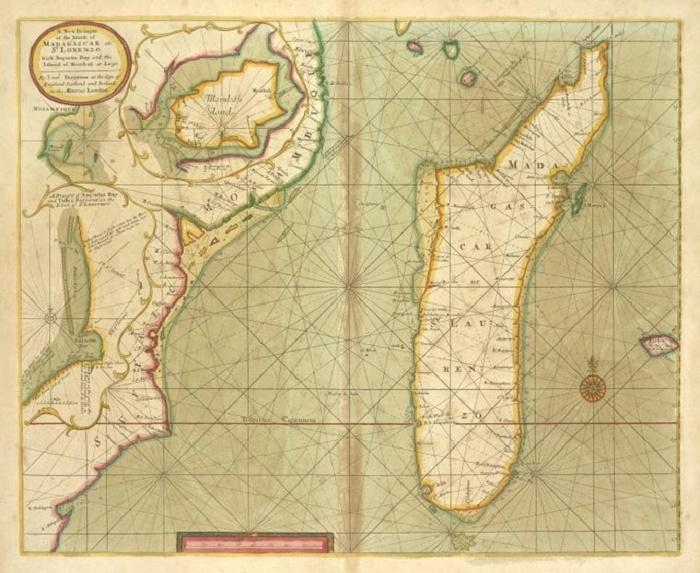 Карта острова Мадагаскар, начало XVIII века / Фото: alamy.com