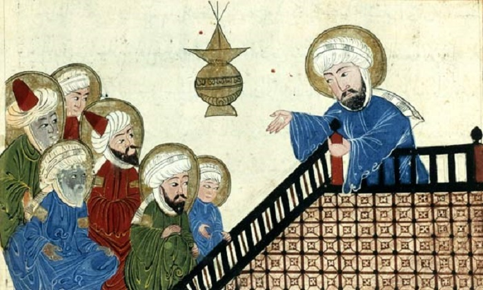 Мухаммед читает проповедь перед уммой. Иллюстрация Аль-Бируни, XI век / Фото: wikipedia.org