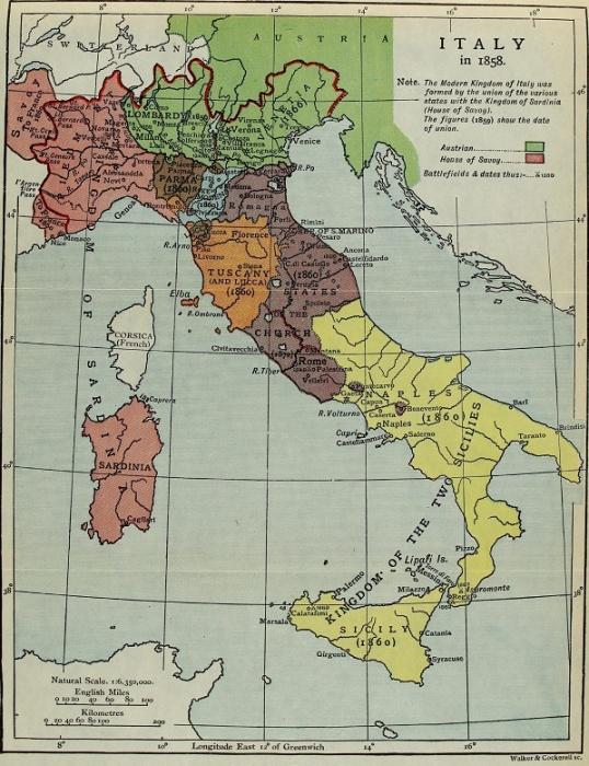 Карта Италии в 1858 году / Источник: q-map.ru