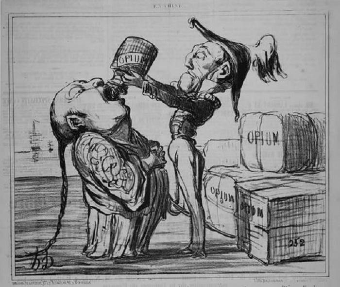 Карикатура на снабжение британцами Китая опиумом, 1821 год / Фото: britannica.com