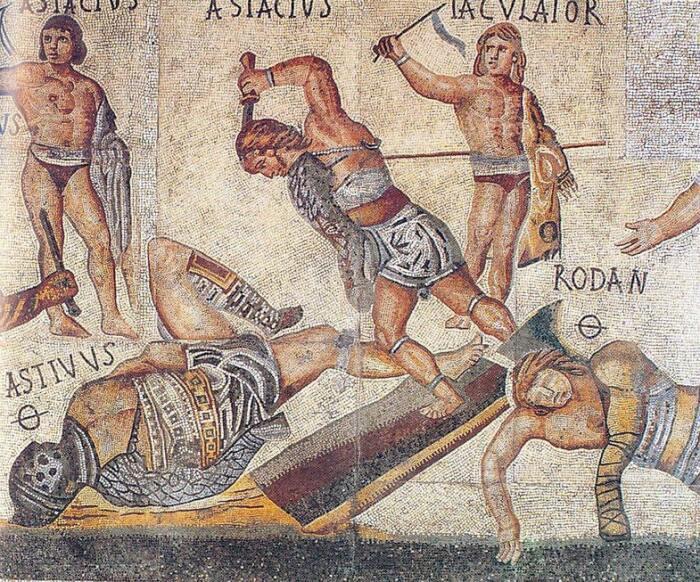 Гладиаторы на арене. Мозаика Виллы Боргезе / Источник: Wikimedia Commons