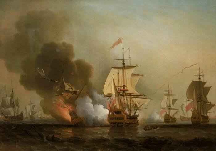 Картина Сэмюэля Скотта «Морская битва при Картахене». Изображён момент взрыва на корабле «Сан-Хосе» / Фото: wikipedia.org