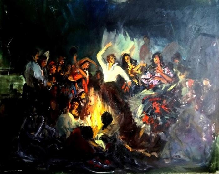 А. Забела-Забелин «А. С. Пушкин в гостян у цыган», 1988 / Фото: kupitkartinu.ru