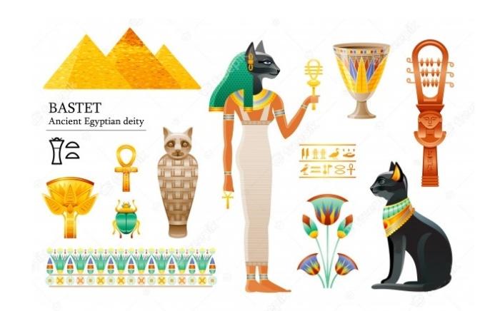 Древнеегипетская богиня Бастет изображалась с головой кошки или же в виде этого животного / Фото: pinterest.com